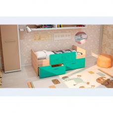 Детская кровать Умка-2 МДФ с ограничителем Бирюза