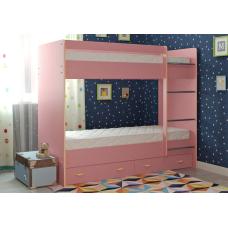 Кровать двухъярусная с ящиками Радуга РОЗОВАЯ