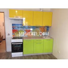Кухня Дюна зеленый/желтый 2,1м