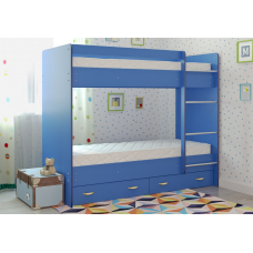 Кровать двухъярусная с ящиками Радуга