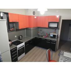 Кухня угловая Oli черный+оранж