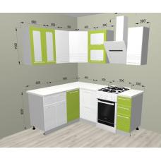Кухня Капля лайм/белый 1600х1400мм