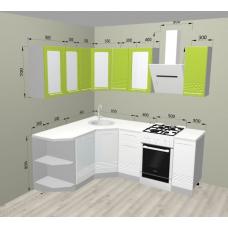 Кухня Капля лайм/белый 1650х1550мм