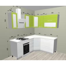 Кухня Капля лайм/белый 1550х1650мм