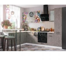 Кухня ЛОФТ бетон коричневый/  ice cream choko 1960х2800