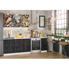 Кухня Лофт бетон черный/ ice cream choko 1,8м