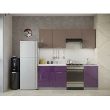Кухня Oli фиолетовый глянец  - мокко глянец 2,1м