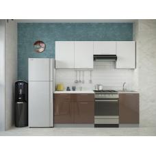 Кухня Oli шоколад глянец - белый глянец 2,1м