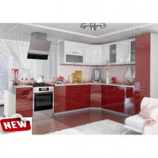 Кухня угловая OLI гранат/гранат+белый модульная1