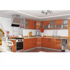 Кухня OLI угловая белый+сирень/оранж модульная
